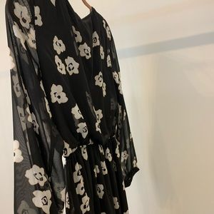 Black dress with flower decals